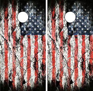 C197 Distressed Flag Cornhole Board Wrap LAMINATED Wraps Decals Vinyl Sticker