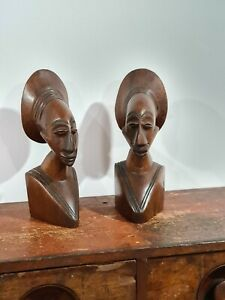 AFRICAN CARVED WOODEN BOOKENDS
