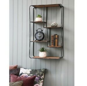 Wall Hung 5 Tier Black Grey Metal Wood Shelf, Modern Shelving Display Shelves