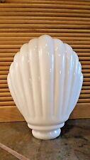 "Vintage Art Nouveau Clam Shell Milk Glass Light Shade Globe 8"""