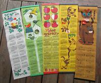 Lot of 5 Vintage Retro Modern 1970's Cool Cats & Birds Felt Calendars All Signed