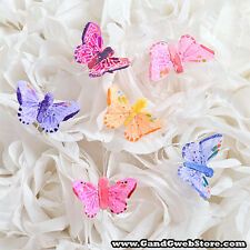 "1.5"" Fake Artificial Decorative Feather Butterflies w/ Wire 12pcs Butterfly"
