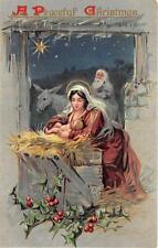 CHRISTMAS HOLIDAY MOTHER MARY & BABY JESUS EMBOSSED TUCK POSTCARD (c. 1910)