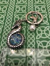 Fantasy Seahorse Moving Blue Stone Center Odd Keychain Keyring Free Shipping