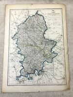 Antique Map of Staffordshire County England 19th Century Original Hand Coloured