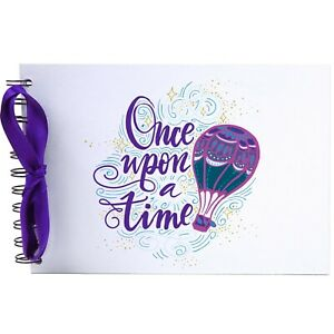 Ribbon, Balloon Once Upon a Time, Photo Album, Scrapbook, Blank White Pages, A5