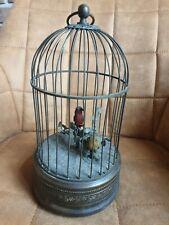 Antike Spieluhr mit 2 singenden Vögeln im Käfig - zum Überarbeiten