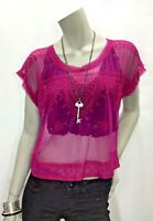 Free People Small Magenta Embroidered Sheer Cropped Short Sleeve Top Shirt
