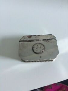 Small silver plated hinged trinket box