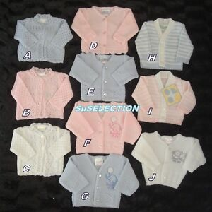 BABY BOY GIRL PREMATURE TINY BABY CARDIGAN-3/5 LBS-5/8LBS-PINK/BLUE/WHITE- NEW