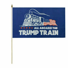 "Wholesale Lot of 24 All Aboard The Trump Train 2020 Blue 8x12 8""x12"" Stick Flags"