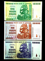 Zimbabwe 1, 5, and 10 Billion Dollar Bills Banknotes Paper Money World Currency