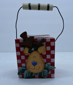 Wooden Holiday Reindeer Votive Tealight Candle Holder with Handle