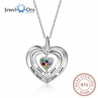 925 Silver Women Necklace Engraved 6 Names Birthstones Heart Pendant Moms Gift