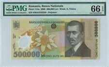 Romania 500.000 Lei P115a 2000 PMG 66 EPQ s/n 046A4542556 Polymer