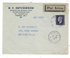 1946 Paris France, Commercial Airmail to New York, 50Fr Single Franking #523