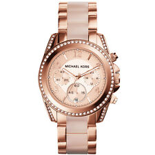 Michael Kors MK5943 Rose Gold Tone Acetate Blair CHRONOGRAPH Glitz Wrist Watch