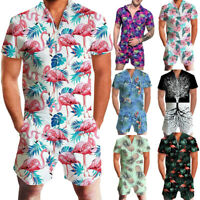 US Men Romper Street Casual Cargo Pants Jumpsuit Overall T-Shirt Shorts Set