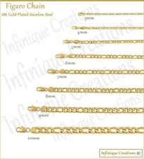 "18K Gold Plated Stainless Steel Figaro Chain Bracelet Necklace 7-38"" 3-12mm"