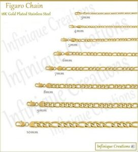 """18K Gold Plated Stainless Steel Figaro Chain Bracelet Necklace 7-38"""" 3-12mm"""