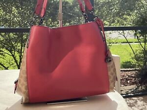 NWT Coach Dalton 31 Signature Canvas Blocking Tan Apple Red Coach 76078