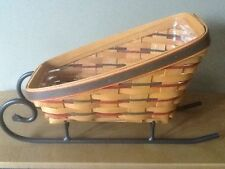 Longaberger 1997 Christmas Holiday Sleigh Basket with Protector & Wi Runners