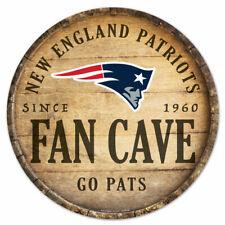NFL New England Patriots Fan Cave Rund Wood Sign Holzschild Holz Deko Football