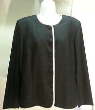 NWT $69 LESLIE FAY Women's Black Beige Long Sleeve Blazer Jacket Size: 16