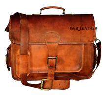 """18"""" Men Genuine Vintage Terrific Leather Messenger Shoulder Laptop Bag Briefcase"""