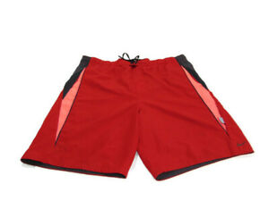 Nike Swim Trunks Red Black Pink Trim Mesh Lined Side Pockets Boardshorts Mens L