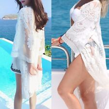 Women Summer Boho Lace Crochet Loose Shawl Kimono Cardigan Tops Jacket Blouse