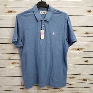 NWT Original Penguin Mens Polo Shirt Blue Short Sleeves 2XL XXL