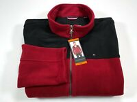 Tommy Hilfiger Men's XXL Full Zip Fleece Jacket Polyester Red & Black NEW