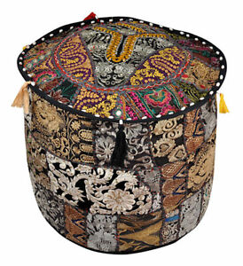 """18"""" New Multi Color Pouf Cover Moroccan Footstool Vintage Patchwork Seat Ottoman"""