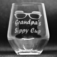 Hand Etched Stemless Wine Glass/Tumbler With Grandpa's Sippy Cup Image