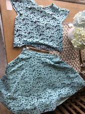 alexis lace blue dress two piece crop top and skirt shorts