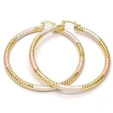 3 Tone Large Real Gold Plated Round Hoop Earrings 14k Gold filled 70mm tri color