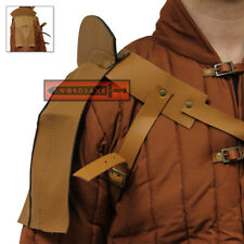 Bearserker Warrior Leather Shoulder Pauldron Armor Medieval Rogue Spaulder Tan