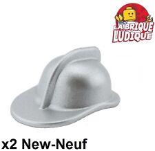 Lego - 2x Minifig headgear casque pompier fire argent metallic silver 3834 NEUF