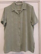 100% Pure Silk Pale Green Ladies Shirt Size M 10-12 Brand New