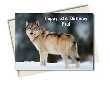 Personalised Husky Wolf Dog Birthday Card A5 Large - Any Name