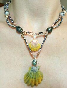 Hawaii double Sunrise moonrise Kahelelani shell Tahitian pearl mermaid necklace