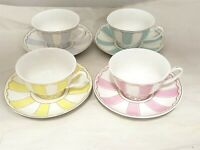 Vintage Ceramic Teacup and Saucer Set 7 oz (Yellow, Green, Pink, Blue)