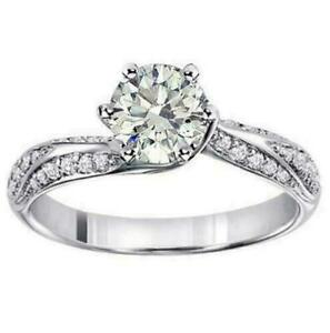 1.32 CT Prong Set Designer Diamond Engagement Ring in 14k White Gold NEW