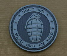 """PVC / Rubber Patch """"Don't Run You'll Only Die Tired"""" BK with VELCRO® brand hook"""