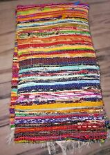 Hand Made Eco Friendly Recycled Braided Multicolor Chindi Vintage Saree Rugs Mat