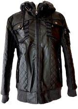 Robert Phillipe Jacket Size Medium Mens Fleece With Hood Black Gray Fully Lined