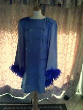 Drag Queen Pale Blue SHORT dress, cape sleeves Blue feathers 16/18