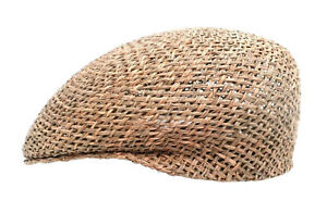 Men's Women's Unisex Flatcap Sporty Natural Straw Cap Holiday Straw Hats Seaweed