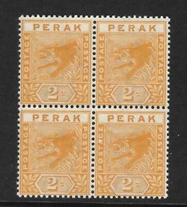MALAYSIA, PERAK, 2c ORANGE, TIGER, SG 63, MNH BLOCK 4